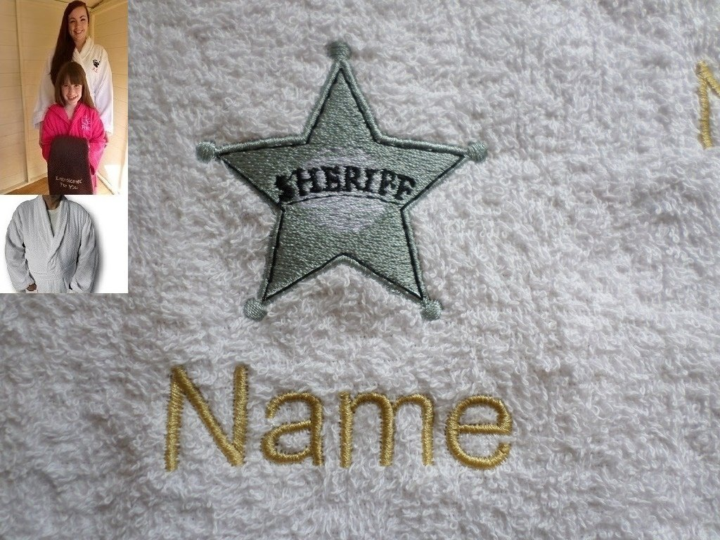 Adult Bath Robe with a SHERIFF BADGE Logo and Name of your choice in White, Size Medium, Large, XLarge or XXLarge (XXLarge)