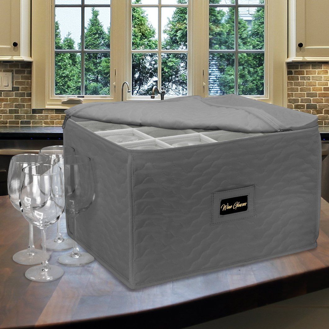 Goblets Sorbus Stemware Storage Chest Champagne Flutes STRG-GLS-GRYA Storage Glass - Gray Service for 12 and More Deluxe Quilted Case with Dividers Great for Protecting or Transporting Wine Glasses