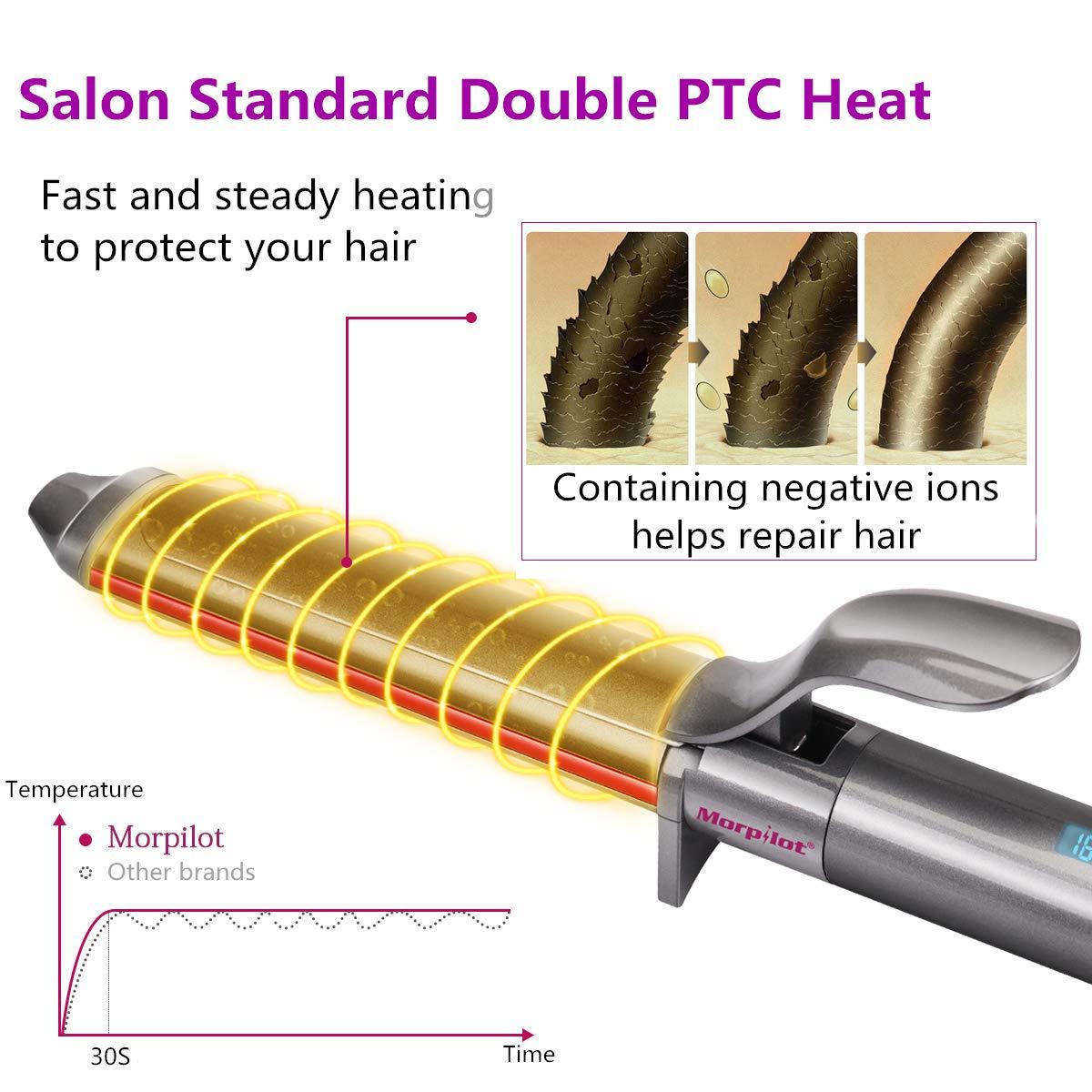 Fer à Boucler, Morpilot 32mm Boucleur Cheveux Fer à Friser Céramique, D\'arrêt Automatique Température Réglable de 80°C à 210°C avec écran LCD, Technologie PTC, Gant