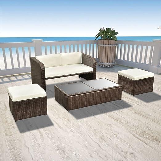 Tidyard Conjunto Muebles de Jardín 9 Piezas con Mesa y ...