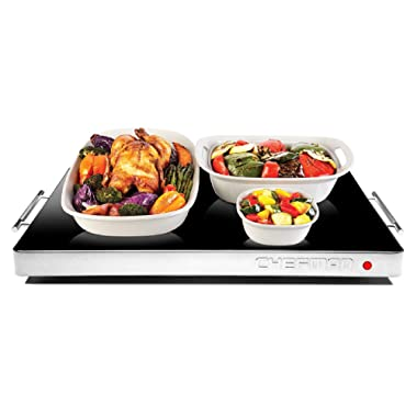 Chefman Electric Warming Tray with Adjustable Temperature Control, Perfect For Buffets, Restaurants, Parties, Events, Home Dinners, Glass Top Large 21  x 16  Surface Keeps Food Hot - Black