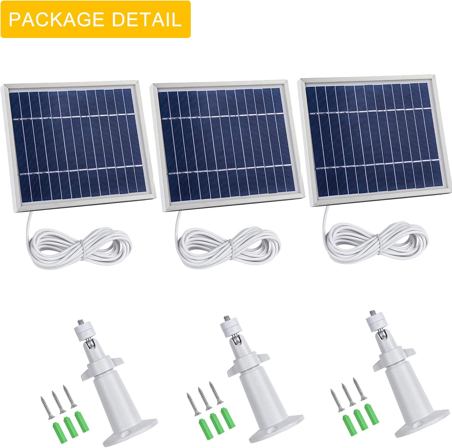 11.8Ft Outdoor Power Charging Cable and Adjustable Mount/,Not for Arlo Ultra and Arlo Pro3 iTODOS 3 Pack Solar Panel Compatible with Arlo Pro 2 Silver