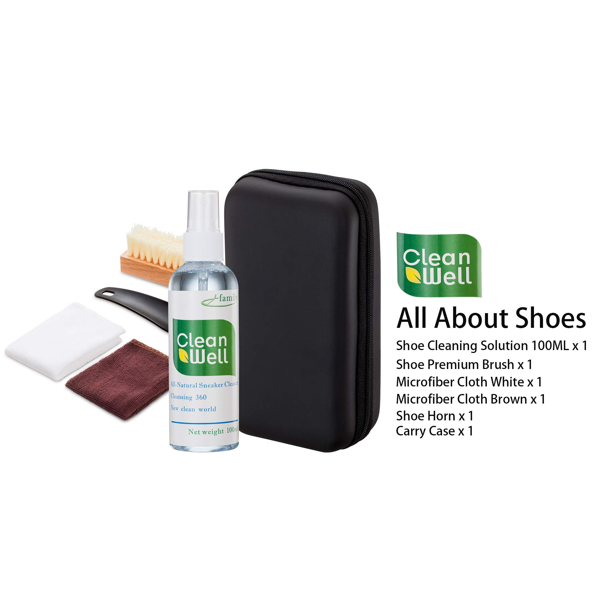 Shoe Cleaner Kit with PU Leather Sleek Elegant Case, 5-Piece Travel Shoe Brush kit and Solution