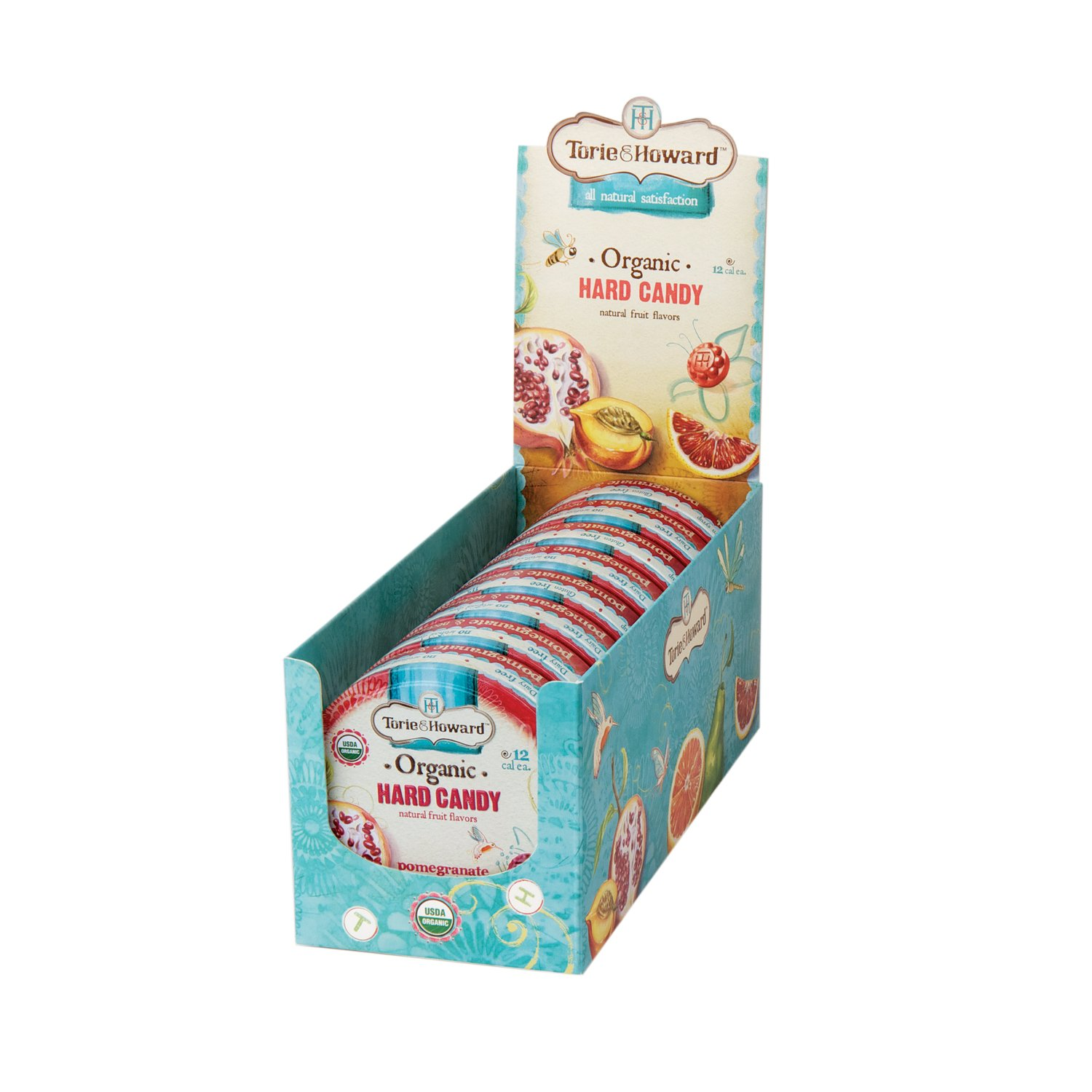 Torie & Howard Organic Hard Candy Pomegranate & Nectarine 2 oz tin (Pack of 8) by Torie & Howard (Image #2)