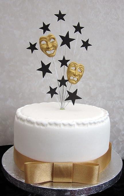 Decoración para tartas en forma de máscaras de teatro griegas, para tartas pequeñas o cupcakes