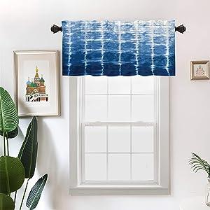 Batmerry Indigo Blue Navy Kitchen Valances Half Window Curtain, Navy Shibori Indigo Blue Tie Dye Pattern Watercolor Kitchen Valances for Windows Valance for Decor Reducing The Light 52x18 Inch