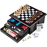 Board Game Set - Deluxe 15 in 1 Tabletop Wood-accented Game Center with Storage Drawer (Checkers, Chess, Chinese…