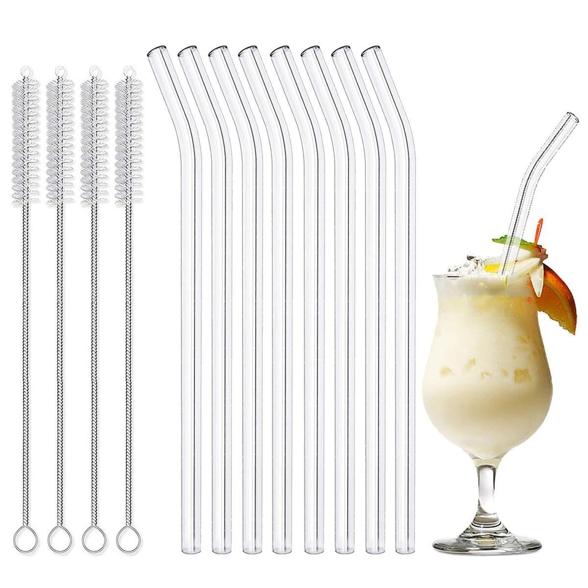 LAKIND Glas Strohhalm Wiederverwendbar Glas Trinkhalme Eco Nachhaltige Strohhalme f/ür Cocktail Smoothie Tee Gerade Strohhalme 8 St/ück 8er Set Mit 4 Reinigungsb/ürsten