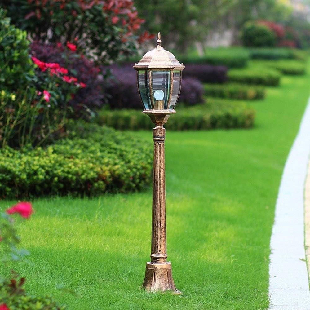 KDBDBF Continental Glass E27 Linterna Exterior Impermeable Exterior Lámpara de pie Aluminio Villa Jardín Césped Luz Hierba Poste Calle Columna Luminaria (Color : Bronze, tamaño : Height 210cm): Amazon.es: Hogar