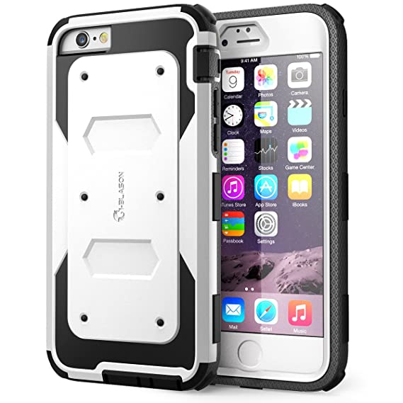 the latest 05885 5d3f1 i-Blason Case for iPhone 6s / 6 Case, [Built in Screen Protector][Armorbox]  Full Body Heavy Duty Protection Kickstand Shock Reduction Case, White, ...