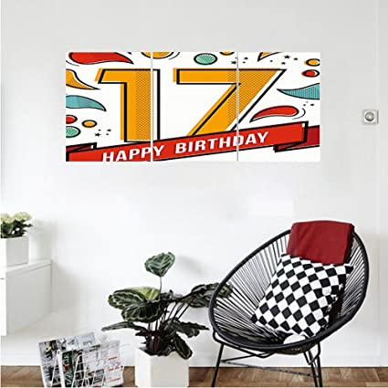 Liguo88 custom canvas 17th birthday decorations digital pop art print seventeen party with floral details image
