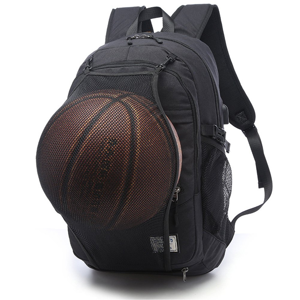 HaloVa Travel Backpack, Large Capacity Laptop Backpack with USB Charging Port, Waterproof School Bag with Basketball Mesh Exercise Fitness Backpack for College Student Men, Black