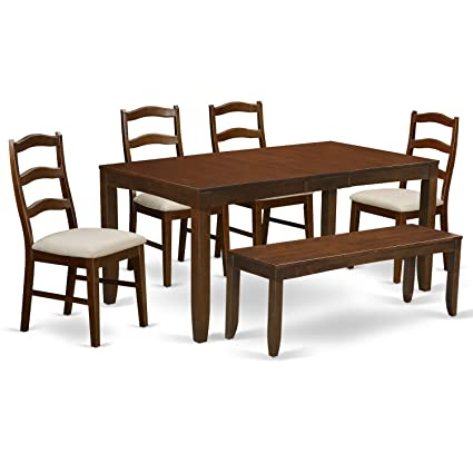 Terrific East West Furniture Lyhe6 Esp C 6 Piece Set Lynfield Dining Table With One 12 Leaf And 4 Padded Seat Chairs Plus Bench In Espresso Pabps2019 Chair Design Images Pabps2019Com
