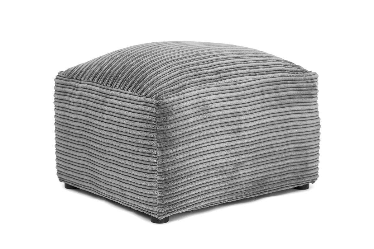 Footstool Abakus Direct Ferguson Corner Sofa in Cord Chenille Fabric - Grey