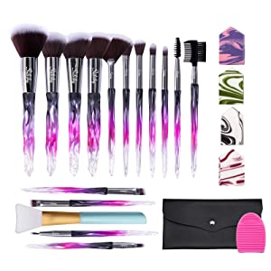 Subsky Makeup Brushes 16Pcs Sparkling Crystal Style Makeup Brushes Set with Makeup Tools, include 4 Beauty Blenders, Makeup Bag and Brush C leaner all in One Set mothers day gifts