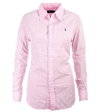 5abd9b207be389 Polo Ralph Lauren Damen Bluse rosa weiß gestreift Größe L  Amazon.de ...