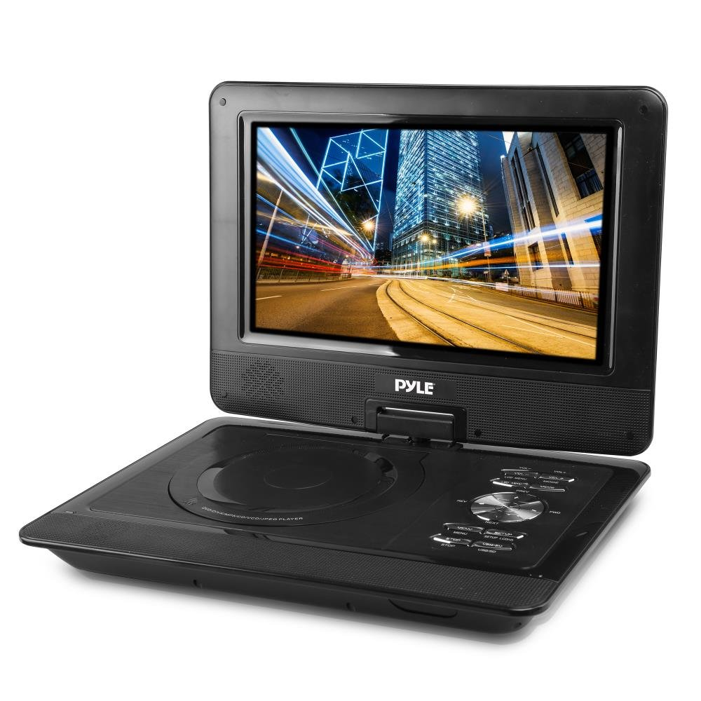 Upgraded Pyle 10'' Portable DVD Player, CD Player, Swivel Angle Adjustable Display Screen, USB/SD Card Memory Readers, Headphone Jack, Built-in Rechargeable Battery w/ Remote Control. (PDV101BK)