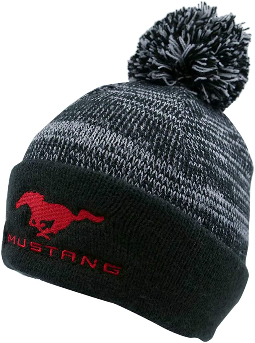 Ford Mustang Men Women Acrylic Cuffed Beanie Hat One Size Black