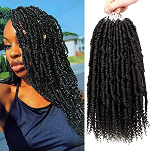 6 Packs Bomb Twist Hair 14 Inch Pre Looped Spring Twist Crochet Braids Mini Passion Twist Hair Curl End Senegalese Twist Crochet Hair Extensions Kanekalon Braiding Hair(1B)
