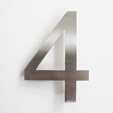 Número de calle, de acero inoxidable, adhesivo, altura 15,5 cm, número de casa, número de puerta de diseño