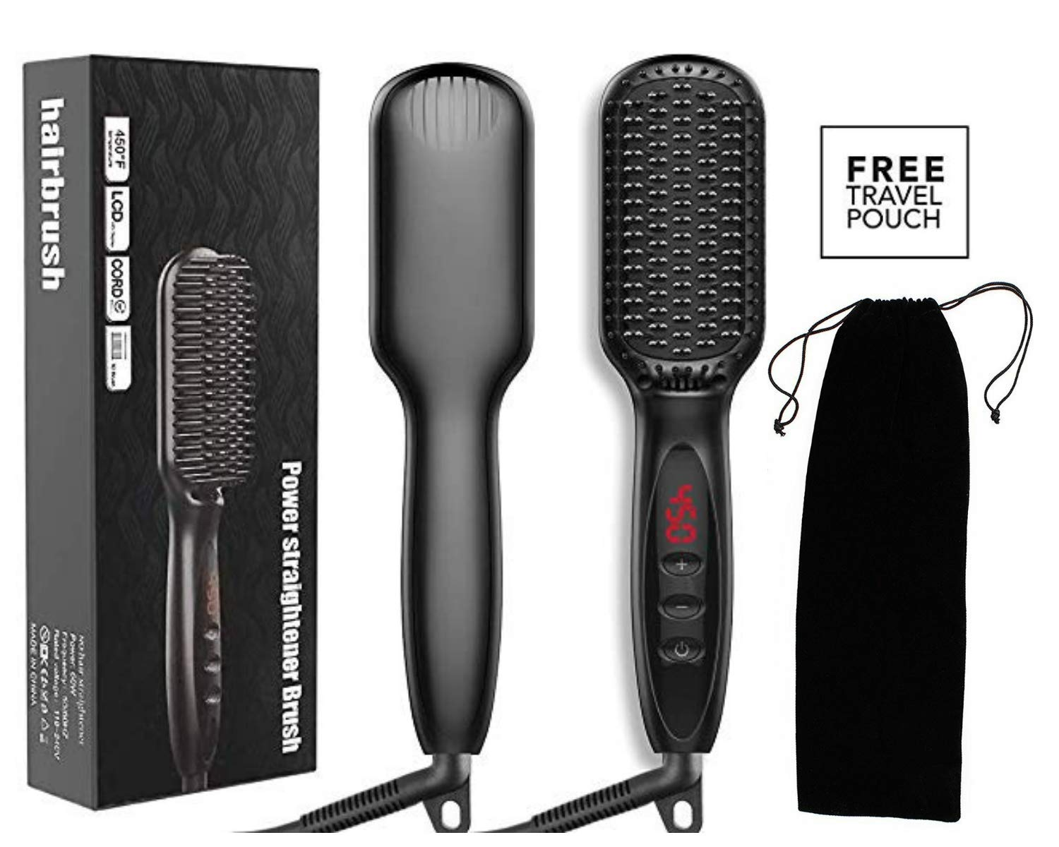 Hair Straightener Brush, TGB Ionic Hair Straightening Brush With Fast MCH Ceramic Heating, Anti-Scald, Auto Temperature Lock and Auto-Off Function, Portable Straightening Comb for Home and travel Hair Brush.