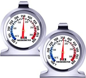 2 Pack Oven Thermometer - 100-600°F Instant Read Stainless Steel Thermometer, Kitchen Cooking Thermometer, Large Dial Grill Smoker Monitoring Thermometer for Fry Chef, BBQ Baking, Home Cooking