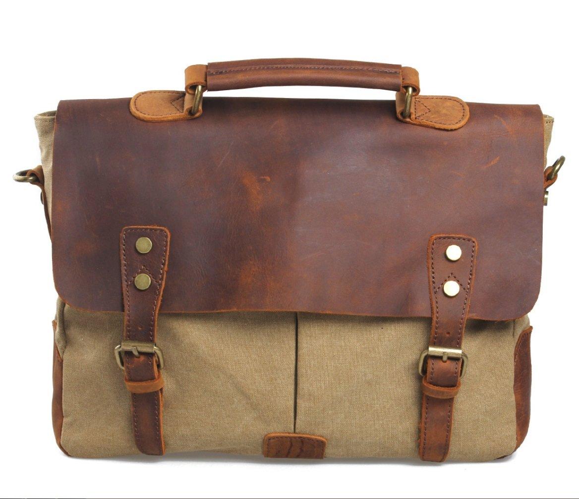 GAOXP Leinwand mit Leder Europa und Amerika Retro Messenger Bag Schulter Messenger Bag Portable BriefcaseGAOXP