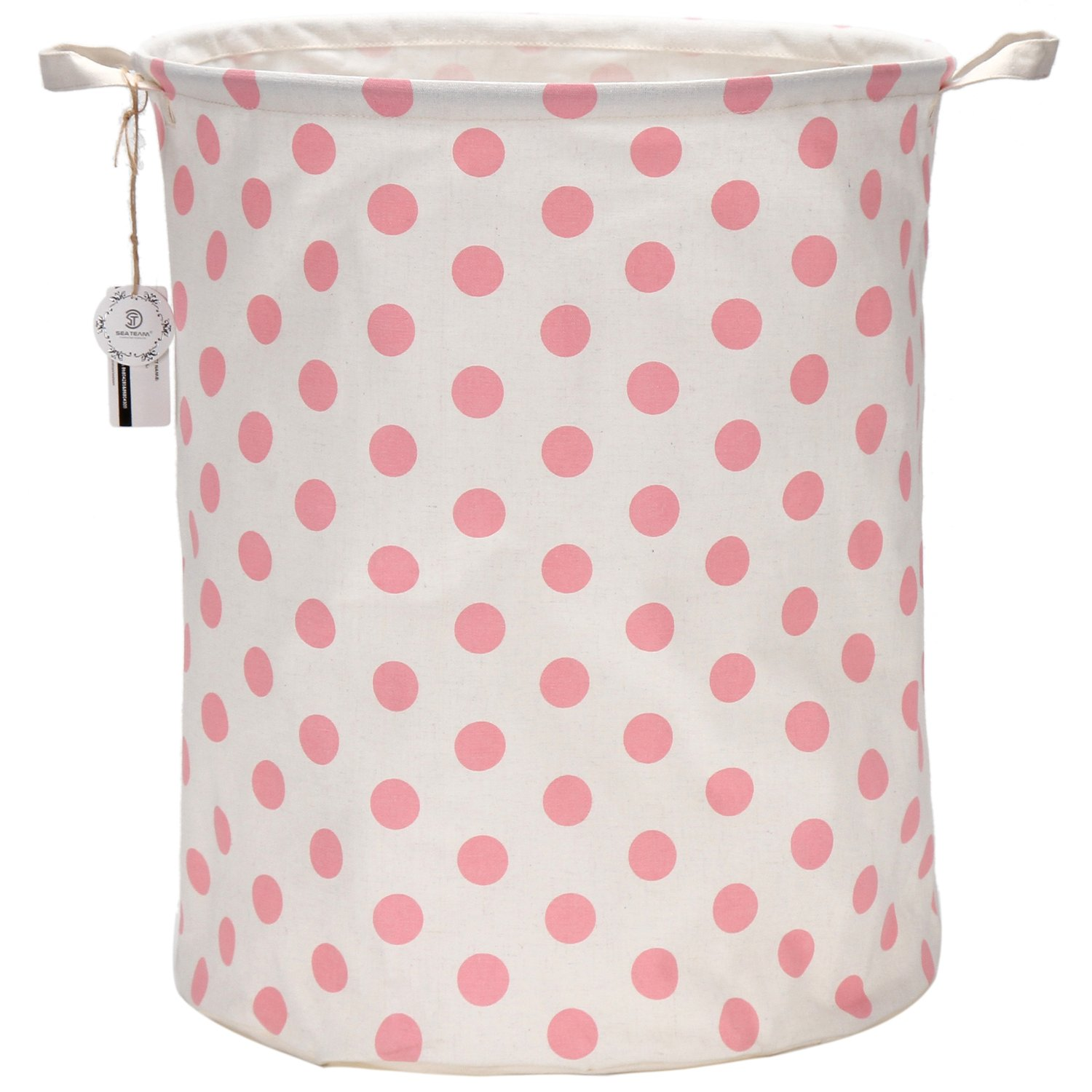 "Sea Team 19.7"" Large Sized Waterproof Coating Ramie Cotton Fabric Folding Laundry Hamper Bucket Cylindric Burlap Canvas Storage Basket with Stylish Pink & White Polka Dot Design"