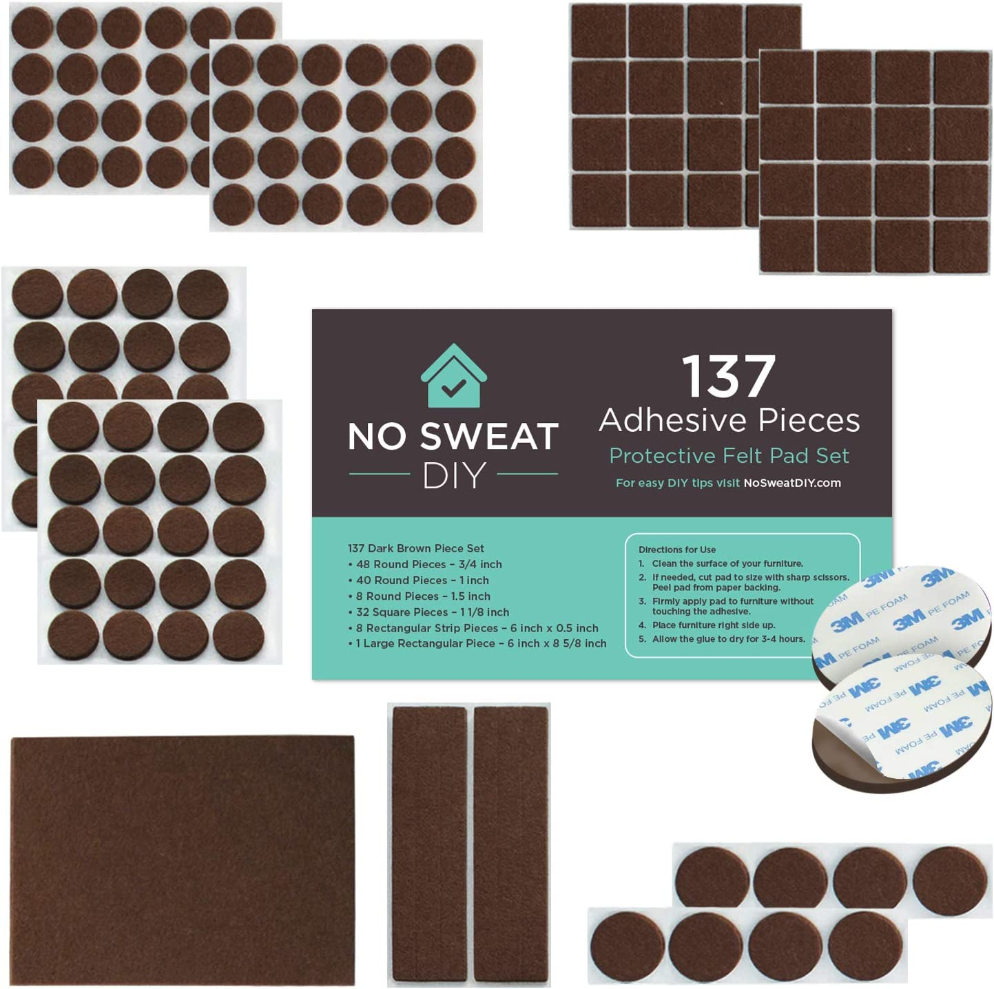 Felt Furniture Pads for Protecting Hardwood Floors by No Sweat DIY - Heavy Duty Self Stick Adhesive Pads for Chairs Legs and Dining Table. Dark Brown Premium Pads That Don't Slip Off