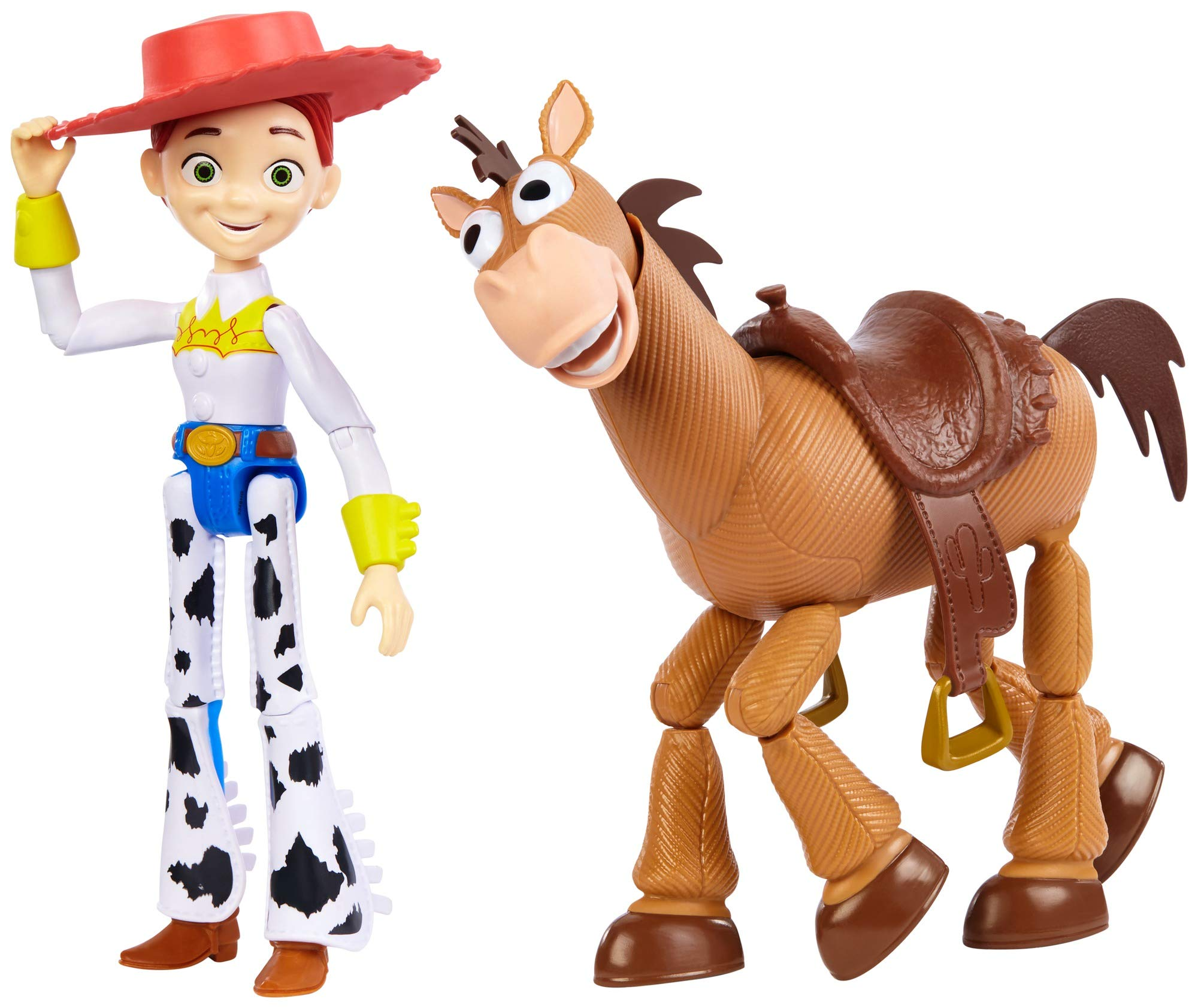 Disney and Pixar Toy Story Jessie and Bullseye 2-Pack Character Figures in True to Movie Scale, Posable with Signature Expressions for Storytelling and Adventure Play, Child's Gift Ages 3 and Up