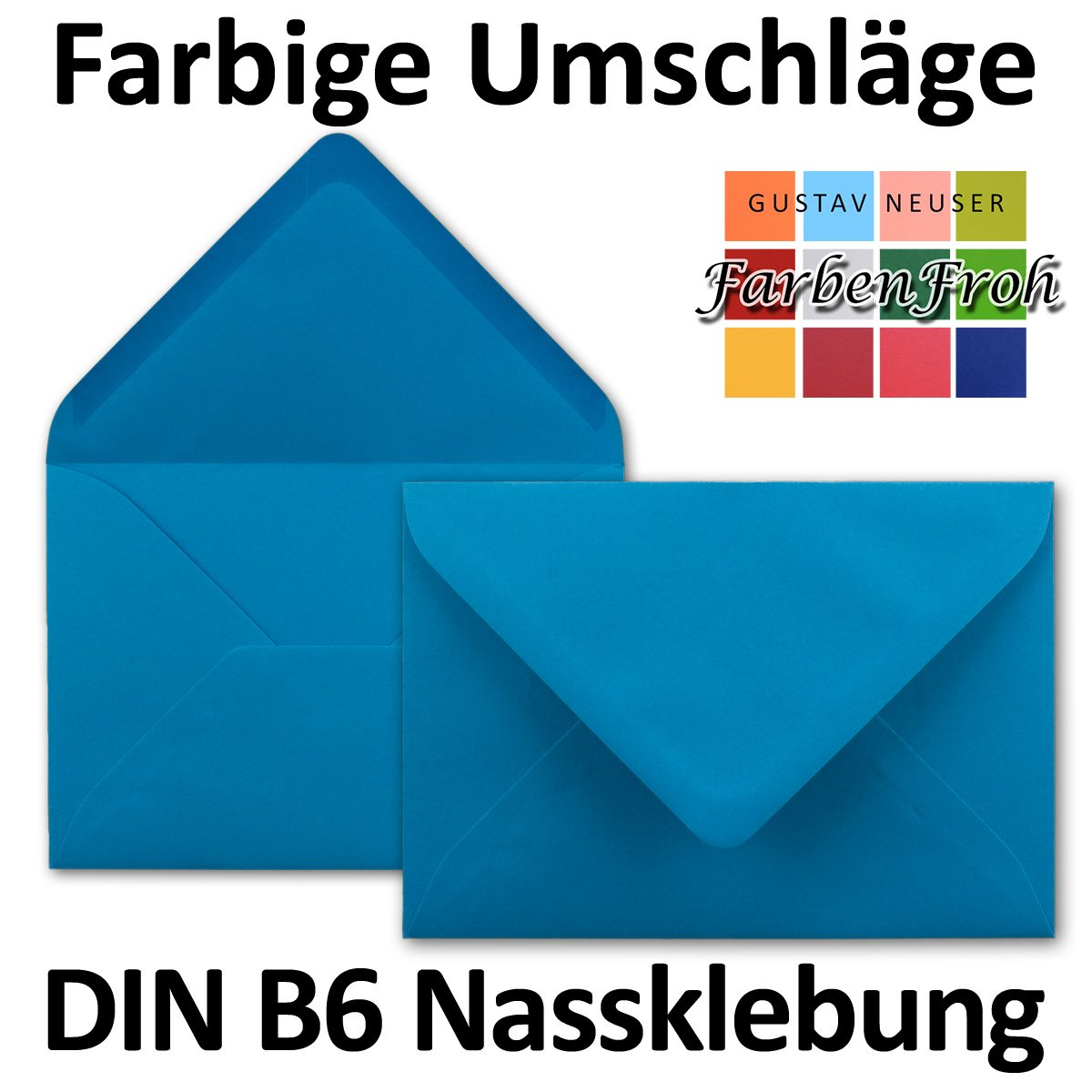 chiusura adesiva da inumidire 50 Umschl/äge azzurro Neuser dimensioni/175 x 125/mm Buste da lettere da 80 g//m/² in colori vivaci formato B6