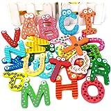 Generic Magnet-BuchstabenA-Z, niedlich, Cartoon-Design, Holz, Alphabet, Kühlschrankmagnet, Kinder, Lernspielzeug, 26Stück