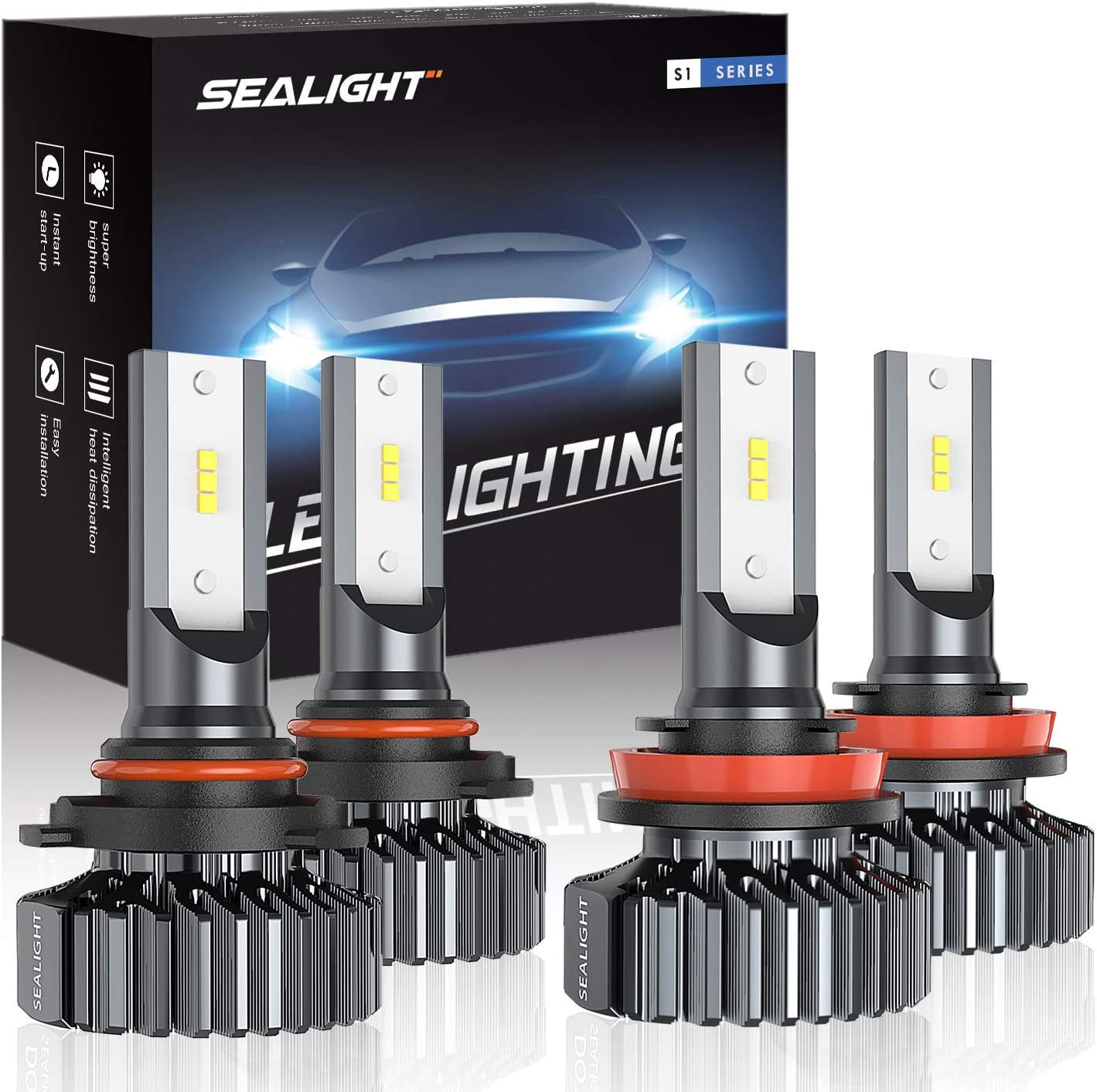 SEALIGHT 9005/HB3 H8/H11 LED Headlight Bulbs High Low Beam, Combo Package CSP Led Chips Hi/Lo lights - 13000lm 6000K White