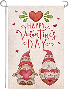Shmbada Happy Valentine's Day Gnomes Be Mine Garden Flag, Double Sided Burlap Vertical Outside Outdoor Yard Lawn Decoration, Red 12 x 18 Inch