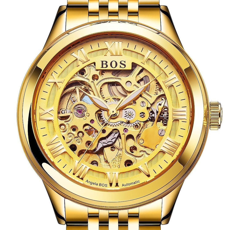 Angela Bos Automatische Skelett-Armbanduhr fÜr Herren - selbstaufziehend - Gold - Armband aus Edelstahl