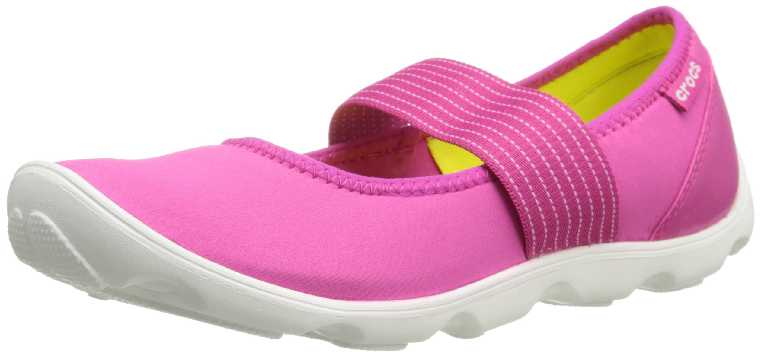 Crocs Women's 16025 Duet Busy Day Mary Jane Flat,Candy Pink/White,8 M US