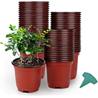 GROWNEER 120 Packs 4 Inches Plastic Plant Nursery Pots with 15 Pcs Plant Labels, Seed Starting Pot Flower Plant…