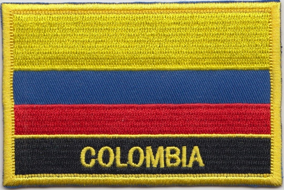 Colombia Flag Embroidered Rectangular Patch Badge / Sew On Or Iron On - Exclusive Design From 1000 Flags