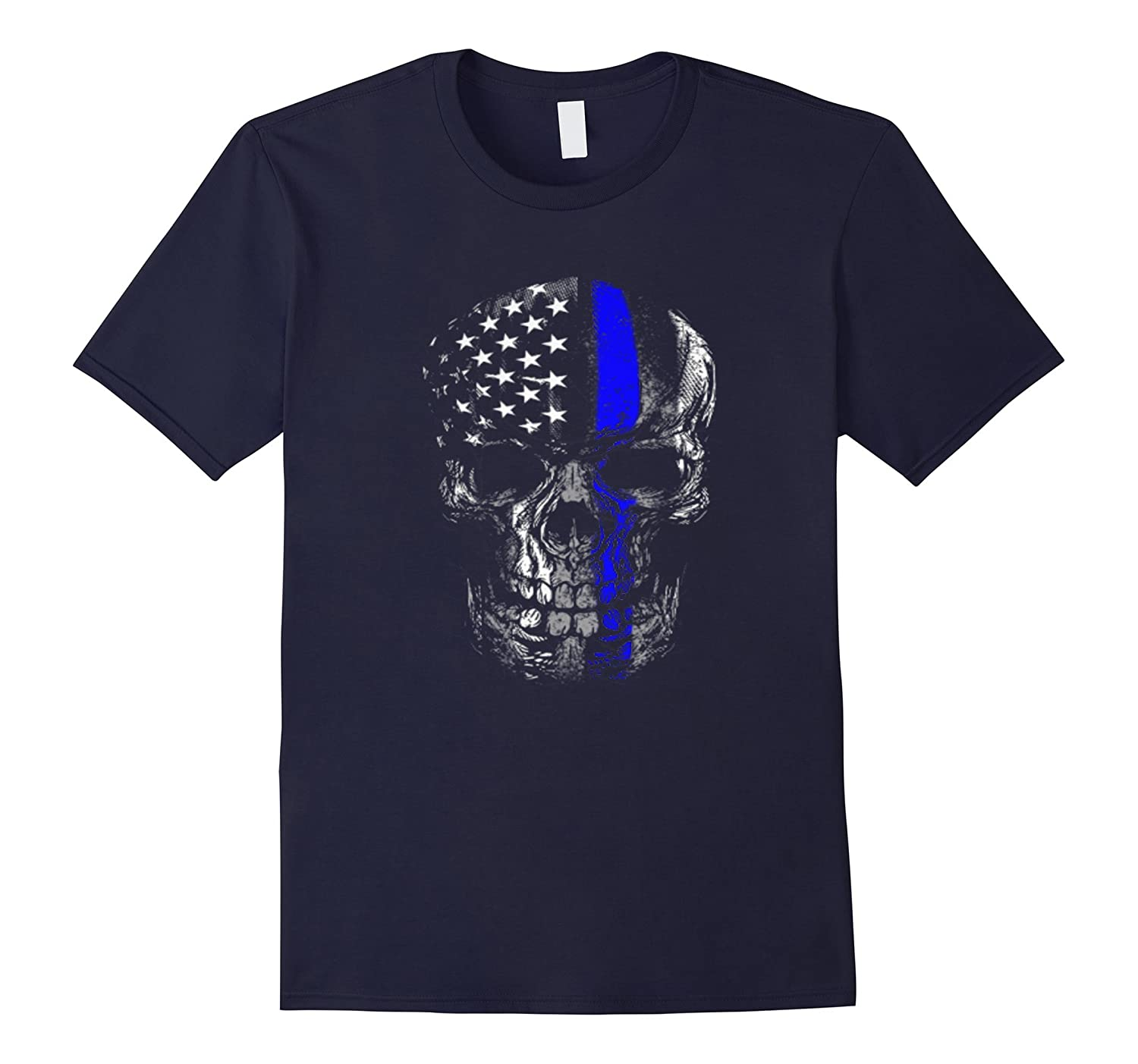 Thin Blue Line Skull Flag Shirt-RT