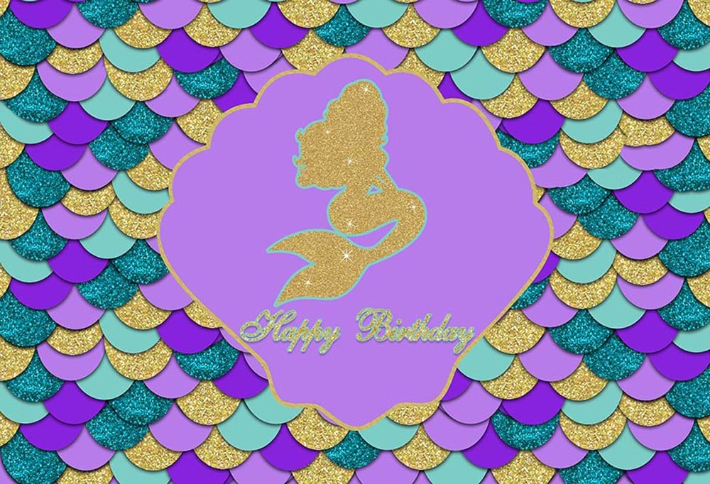 Mehofoto Purple Teal Photo Background Glitter Gold Mermaid Themed Colorful Shell Happy Birthday Party Decoration Backdrops