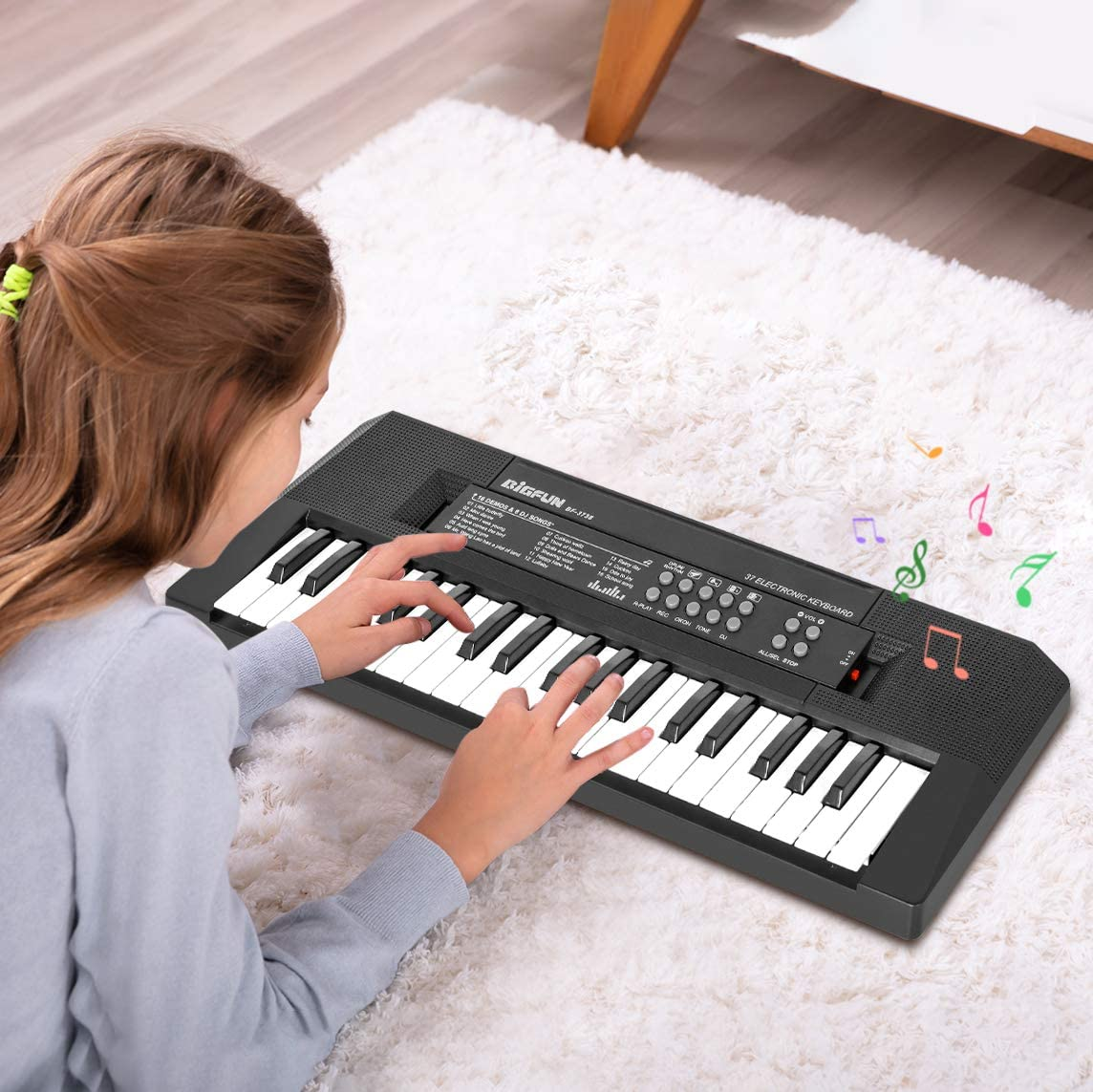 m zimoon Kids Piano Keyboard Gift for 2 3 4 5 Years Old Boys Girls 37 Keys Electronic keyboard Portable Musical Piano with Microphone and Power Connector