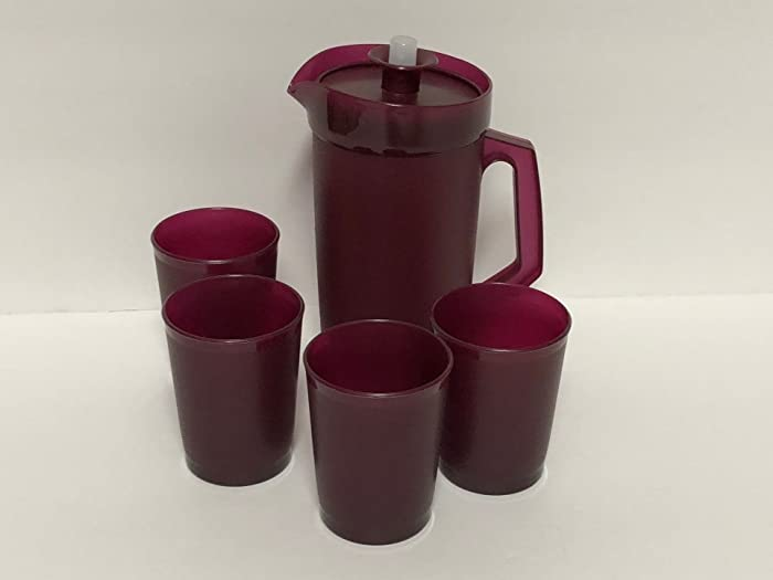 Tupperware Mini Kids Party Beverage Set with Pitcher & 4 Tumblers / Cups Celebration Merlot