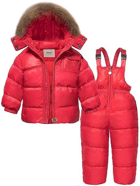 8896b6709 ZOEREA Unisex Boys Girls Winter Snowsuit Down Ski Pants Puffer Jacket  Hoodie Red: Amazon.ca: Clothing & Accessories