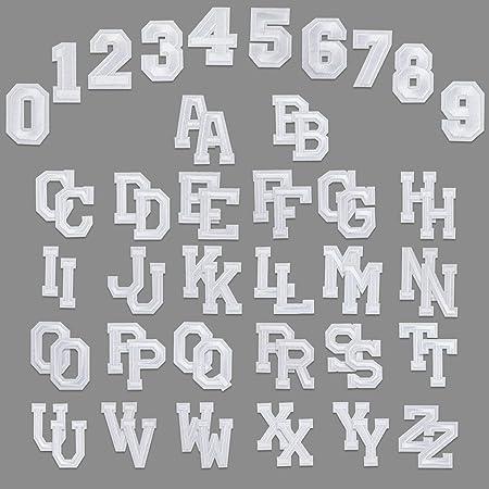 Blanco n/úmeros Divertidos 0-9 A-Z Bricolaje Bordado Ropa Parches Coser en Hierro en para la Camiseta Jeans Ropa Bolsa WD/&CD 62 Piezas Parche Ropa Bordado