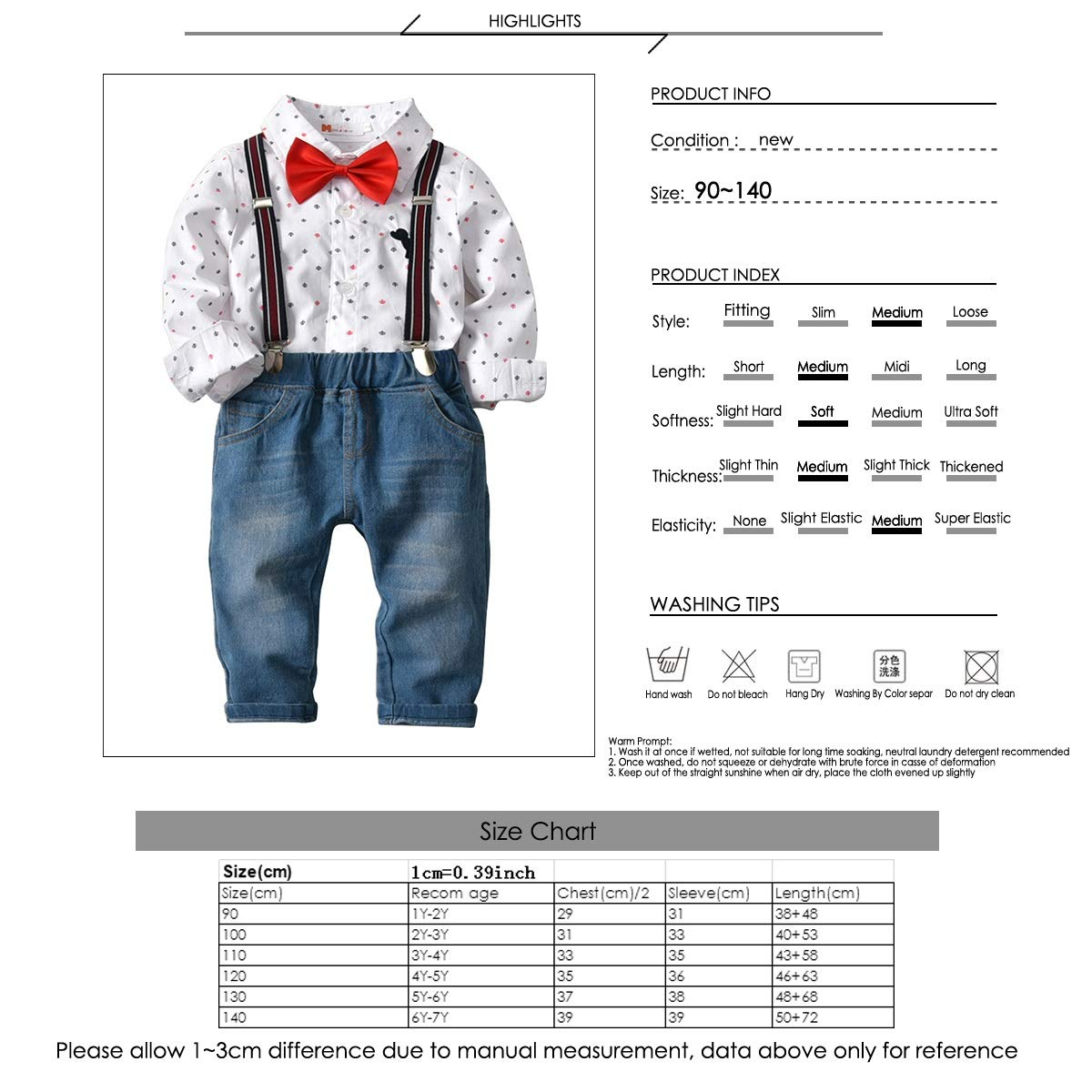 Boy Gentleman T-Shirt + Pantalones de Mezclilla con Corbata de ...