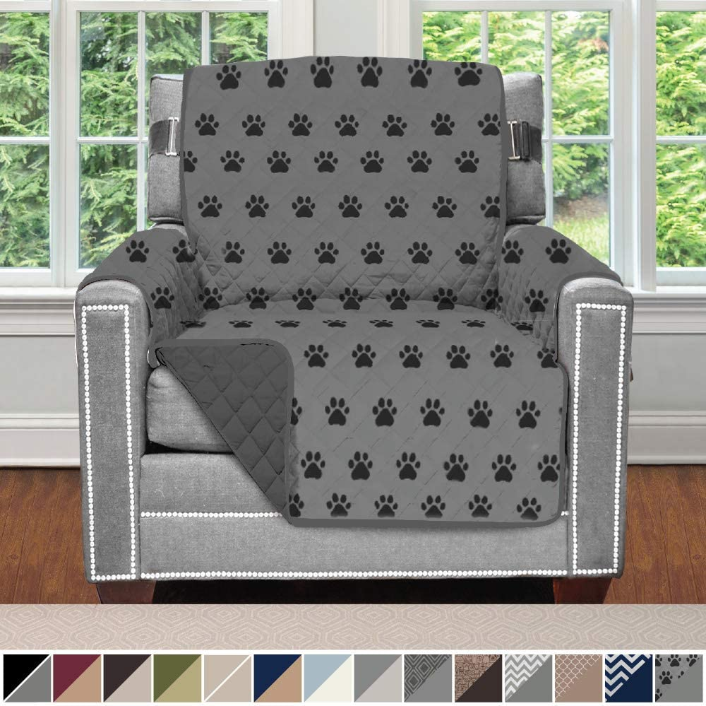 Sofa Shield Original Patent Pending Reversible Chair Slipcover, 2 Inch Strap Hook, Seat Width Up to 23 Inch Machine Washable Furniture Protector, Slip Cover Throw for Kids, Chair, Paw, Gray Black