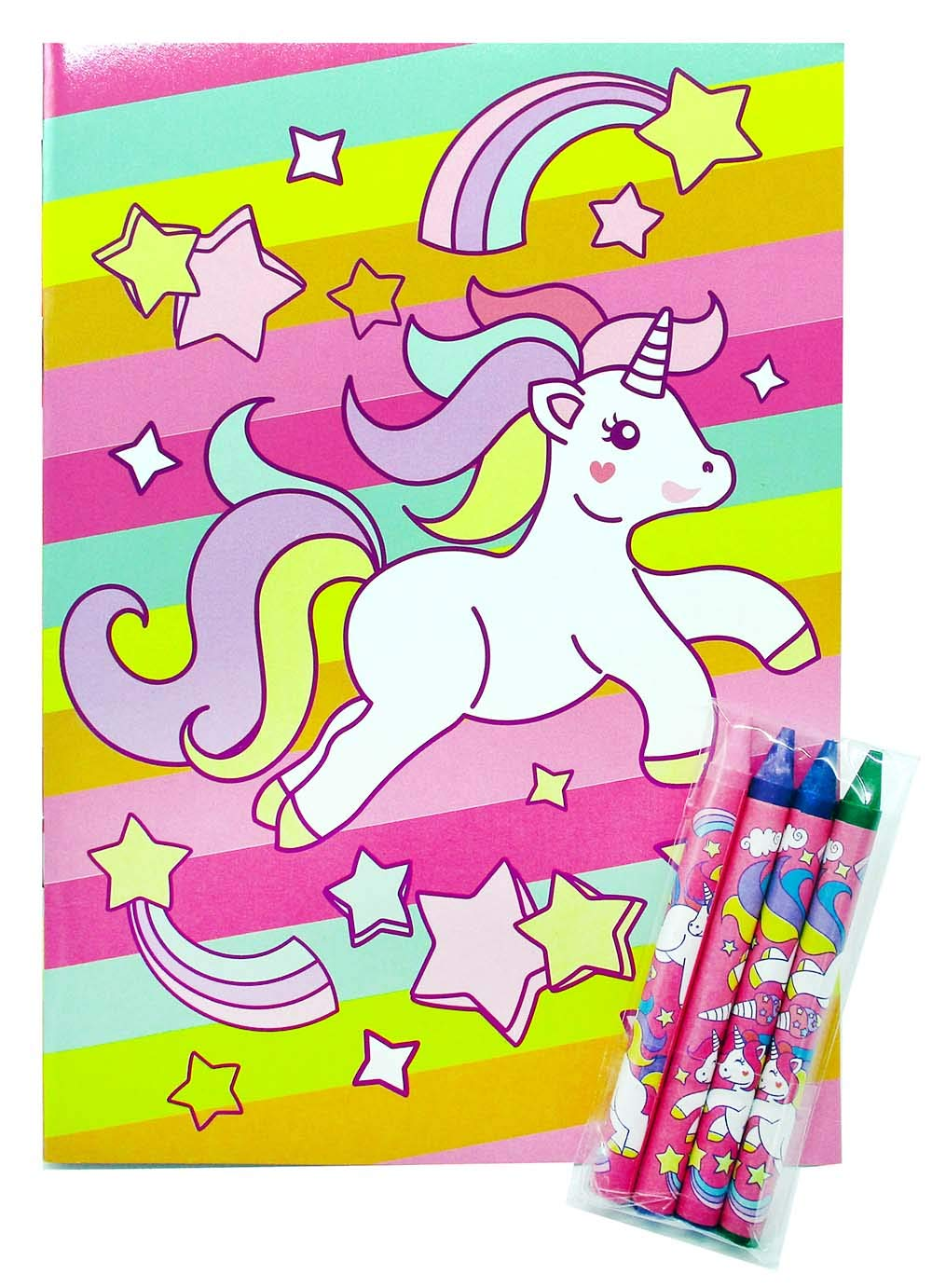 Unicorn Coloring Books with Crayons Party Favors, Set of 12 7