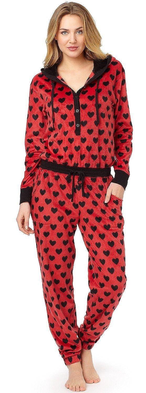 DKNY 3271 Red Heart Design Urban Break Hooded Fleece Onesie Pyjamas Red Heart X-Large at Amazon Womens Clothing store: