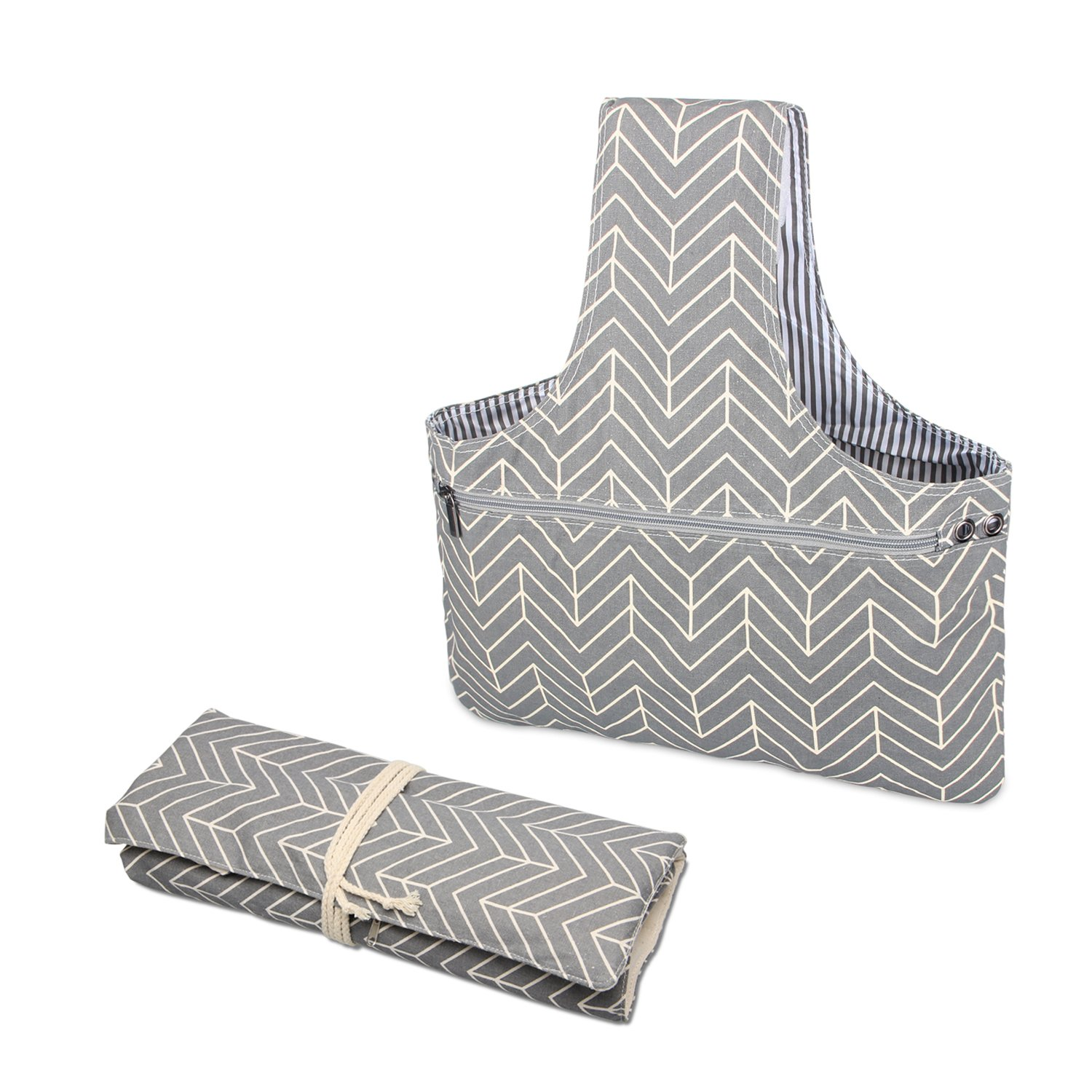 Teamoy 2 Pack Canvas Knitting Tote Bag and Knitting Needles Roll Holder for Yarn, Knitting Needles(14 Inches), Supplies and More, Perfect Size for Knitting on The Go(Large, Arrows)