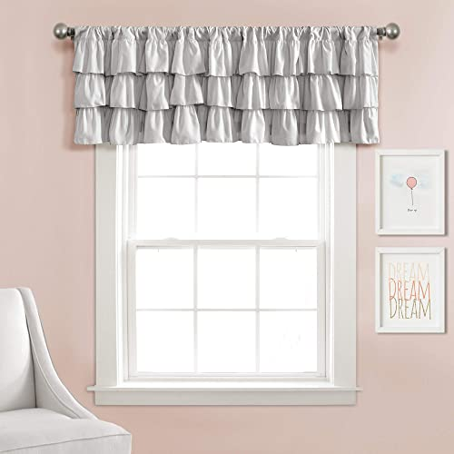Lush Decor, Gray Belle Valance Shabby Chic Style Single Curtain, 18 x 84
